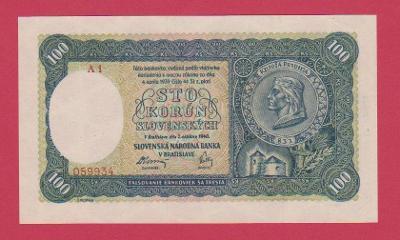100 Ks ze 7.10.1940, II.vydání, s.A 1,č.059934,NEPERFOROVANÁ, stav UNC