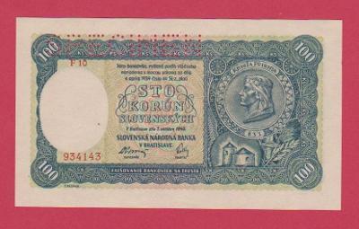 100 Ks ze 7.10.1940, II.vydání, s.F 10,č.934143, SPECIMEN, stav UNC