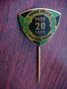 Odznak; 20 let odborné učiliště dolu 1.Máj Karviná; škola; hornictví