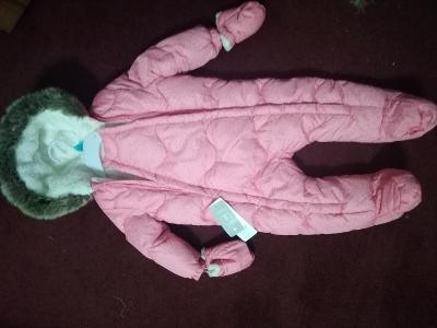 Nová Kombinéza s kožíškem 9 - 12 měsíců, kapuce, rukavice