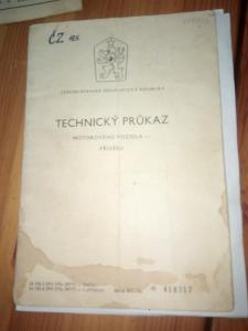 Technický průkaz ČZ 125 / 476  r.v. 1970