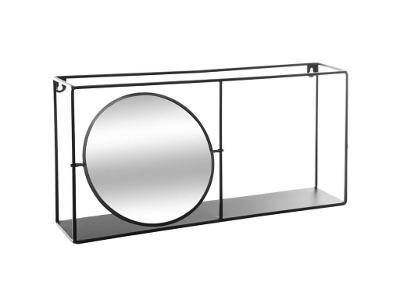 Dekorativní nástěnná police se zrcadlem, 59 x 12cm