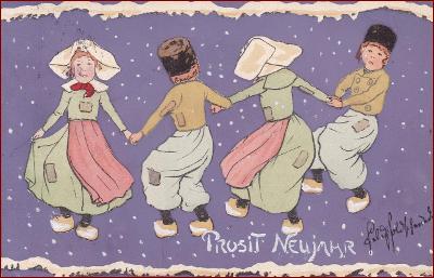Děti * tanec, holandský motiv, gratulační, Nový rok * M1362