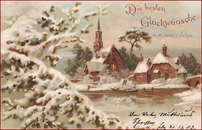 Nový rok * chalupa, kostel, venkovský motiv, gratulační * M1364