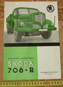 STARÝ PROSPEKT LETÁK NÁKLADNÍ AUTOMOBIL ŠKODA 706 R