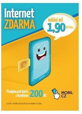 MOBIL.CZ Předplacená karta s kreditem 200Kč