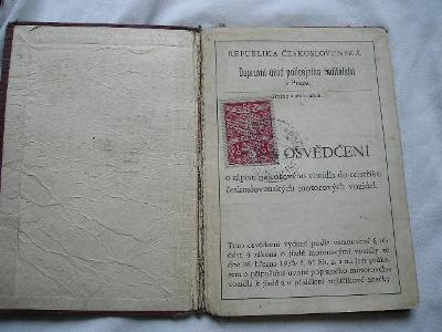ST. TECHNICKÝ PRŮKAZ NA MOTO DKW 200 ROK 1931 BEZVA STAV