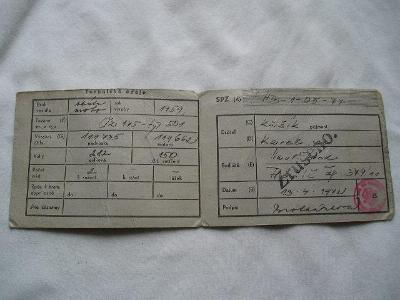 ST. TECHNICKÝ PRŮKAZ NA MOTO ČZ 175 SKUTR 501 ROK1959 +ORIG. DODATEK