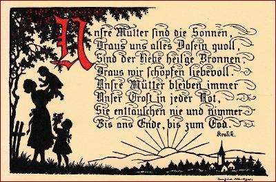 Stínová (obrys) * žena, děti, báseň, silueta, gratulační * M5708