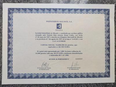 Specimen - akcie Patentservis Alicante S.A. na 1000 pesos z roku 1997