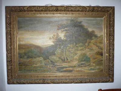 Obraz: Krajina - potok (orig. olej na plátně sign.) 127 x 90 dřev.rám