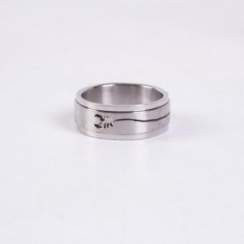 Ocelový prsten se štírem široký