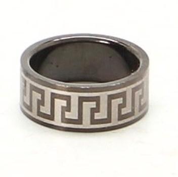 Ocelový prsten černý s Egyptským ornamentem