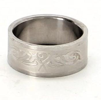 Ocelový prsten široký se vzorem
