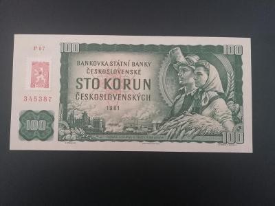 100 korun 1961 s kolkem Kubanska krize,luxusni stav UNC VZACNE!!!