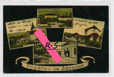 Zdounky 1908 - Kroměříž , okénková , mj. nádraží ,  /FX/