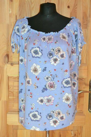 Pěkná modrá květovaná halenka Yessica, vel. XL