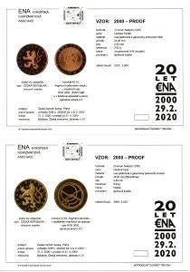 sada karet mincí proof 10 Kč a 20 Kč 2000: Milénium