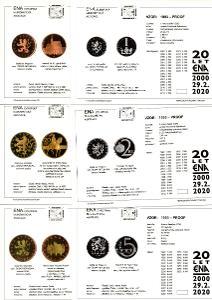 sada 6 karet korunových mincí proof 1997-2020
