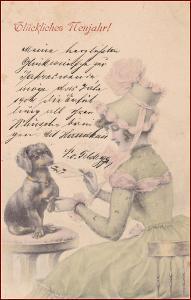 Žena * klobouk, jezevčík, pes, dopis, gratulační, Nový rok * M1275