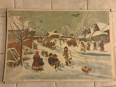 Školní plakát Zima na vesnici, Hála
