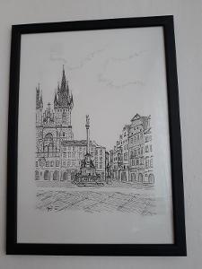 Mariánský sloup - Staroměstské náměstí v Praze - perokresba