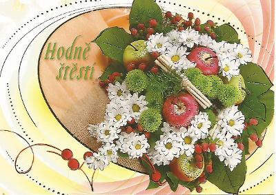 květy jablka ARIA hodně štěstí, zlaté zdobení 3-873** nepoužitá