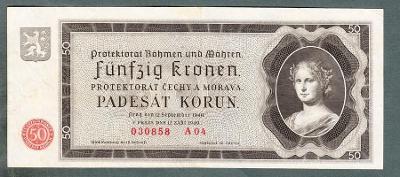 50 korun 1940 serie A04 NEPERFOROVANA stav 1-