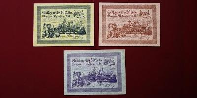 Bankovky z okolí naší hranice z Doby rozpadu Rakouska-Uherska 10,20,50