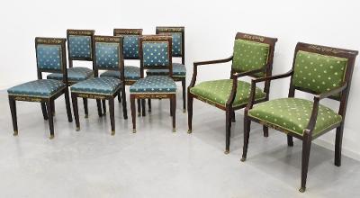 Starožitné empírové židle 8 KS. Originály
