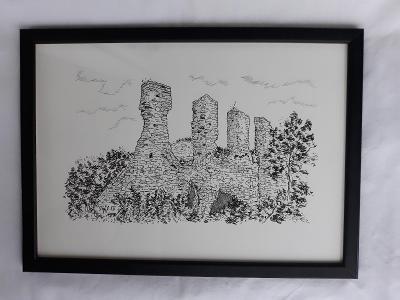 Templštejn (zřícenina hradu) - perokresba