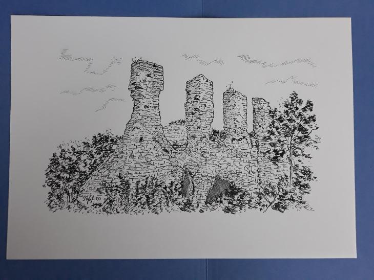 Templštejn (zřícenina hradu) - perokresba - Umění