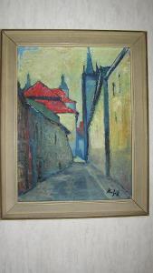 Karel Knížák,olej orig.na plátně 60/45 cm,původ.rám 72/56 cm rok 1953