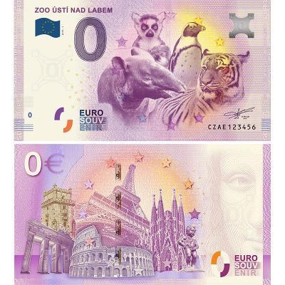 0 Euro Souvenir bankovka ZOO Ústí nad Labem, Eurobankovka