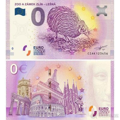 0 Euro Souvenir bankovka ZOO Zlín a zámek - Lešná