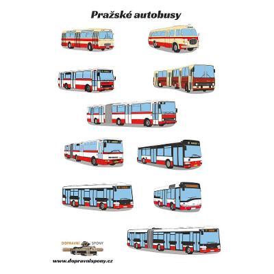 Samolepky - pražské autobusy