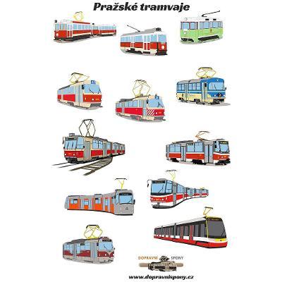Samolepky - pražské tramvaje