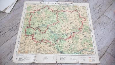 Mapa Správní okres nymburský a poděbradský z roku cca 1935