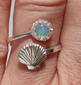 Nový stříbrný prsten s přírodním etiopským opálem Ag 925/1000