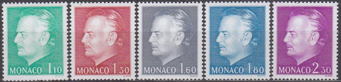 MONACO - MONAKO - KNÍŽE RAINIER III 1980 Mi.č.: 1401-1405 - **svěží**