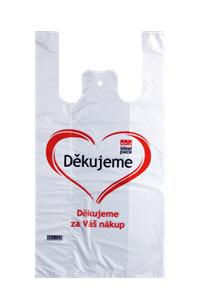 Tašky HDPE 10kg Děkujeme 30+18x55 cm / 13,5 mic / 200 ks