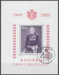 MONACO - MONAKO - ARŠÍK KNÍŽE RAINIER 1989 Mi.: Block 43 - ražený