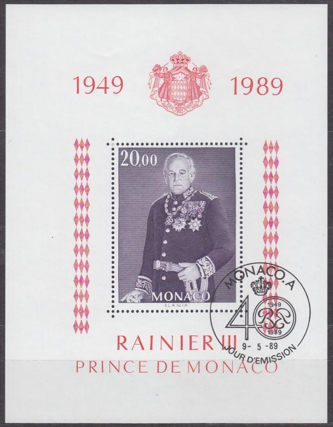 MONACO - MONAKO - ARŠÍK KNÍŽE RAINIER 1989 Mi.: Block 43 - ražený - Filatelie
