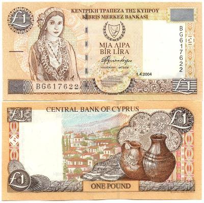 Kypr 1 Pound / lira 2004 P-60d UNC / N
