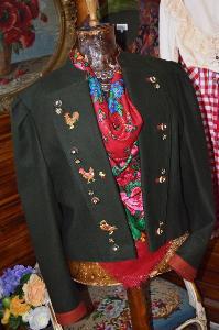 Krásné dobové sako vyšívané vel. 46