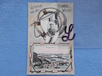 Německo DR Raritní sbírkový pohled koláž námořník kapitán Kiel  DA