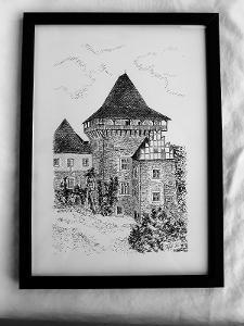 Hrad Lipnice nad Sázavou - perokresba