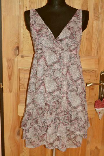 Krásné šedorůžové šaty s kanýry Amisu, vel. 36