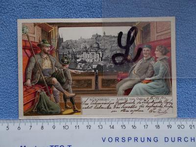 Německo DR  koláž lito Norimberk Nürnberg DA tlačená Synagoga Judaika