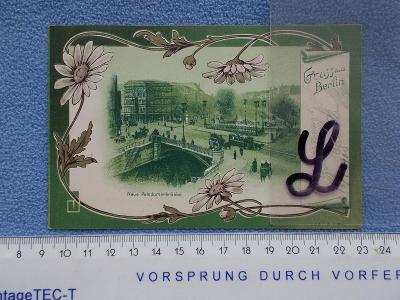 Německo DR  květiny koláž litografie  Berlín  DA luxus sbírkový kus